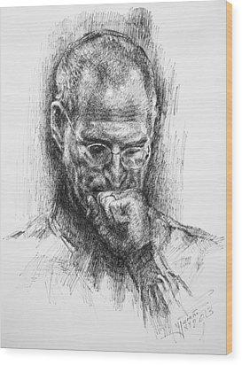 Steve Jobs Wood Print by Ylli Haruni