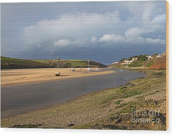 Wood Print featuring the photograph Storm Approaches The Gannel Estuary Newquay Cornwall by Nicholas Burningham