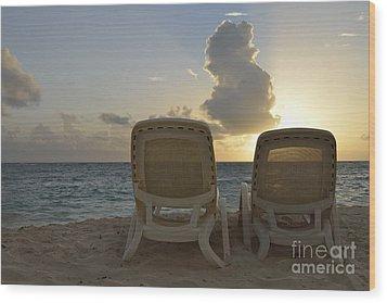 Sun Lounger On Tropical Beach Wood Print by Sami Sarkis