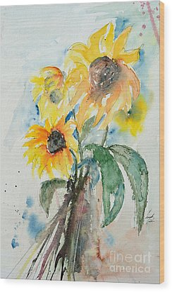 Sunflowers Wood Print by Ismeta Gruenwald