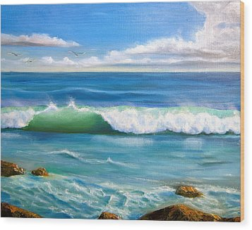 Sunny Seascape Wood Print by Heather Matthews
