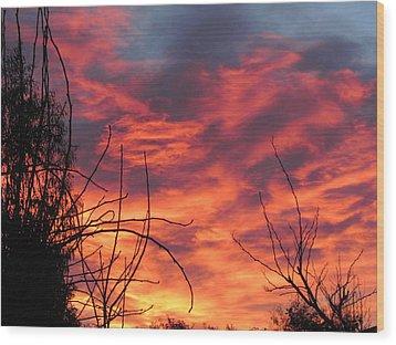 Sunset Skys Wood Print by Joyce Woodhouse