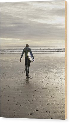 Surfing  Wood Print by Gouzel -