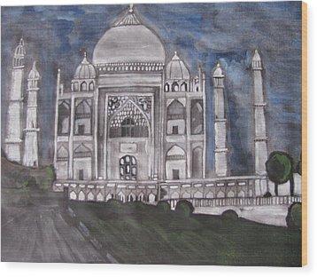Wood Print featuring the painting Taj Mahal by Vikram Singh