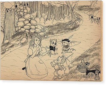 Wood Print featuring the drawing Tammy  Meets Cedric The Mongoose by Reynold Jay