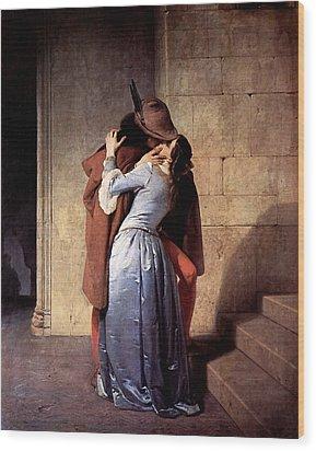 Wood Print featuring the digital art The Kiss by Francesco Hayez