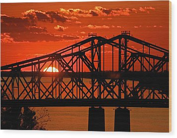 The Mississippi River Bridge At Natchez At Sunset.  Wood Print by Jim Albritton