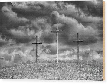 Three Crosses On Hill Wood Print by Thomas R Fletcher