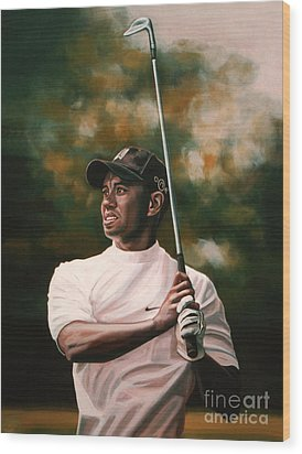 Tiger Woods  Wood Print by Paul Meijering