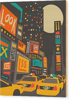 Time Square Wood Print by Jazzberry Blue