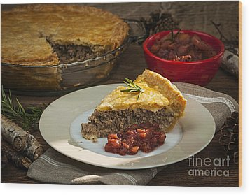 Tourtiere Meat Pie Wood Print by Elena Elisseeva