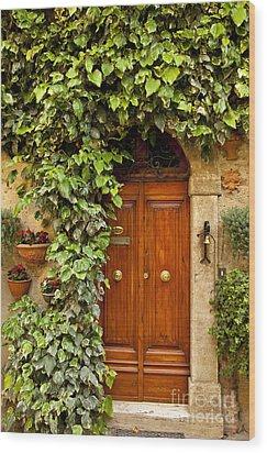 Tuscan Door Wood Print by Brian Jannsen