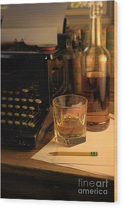 Typewriter And Whiskey Wood Print by Jill Battaglia