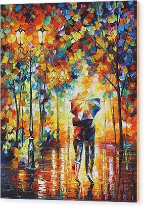 Under One Umbrella Wood Print by Leonid Afremov