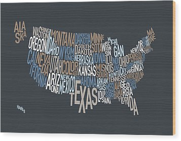 United States Text Map Wood Print by Michael Tompsett