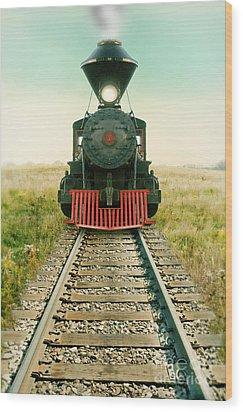 Vintage Train Engine Wood Print by Jill Battaglia