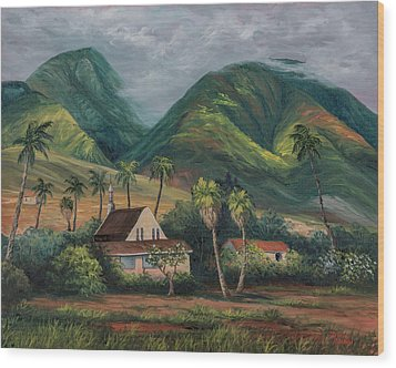 Wood Print featuring the painting West Maui Mountains by Darice Machel McGuire