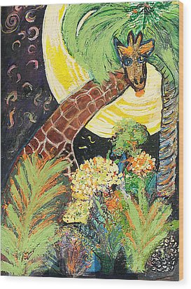 What Are You Up To Giraffe? Wood Print by Anne-Elizabeth Whiteway