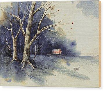 Winter Tree Wood Print by Sam Sidders