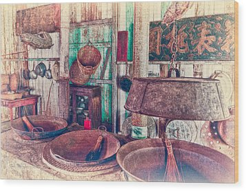 Wood Print featuring the photograph 3-wok Kitchen by Jim Thompson
