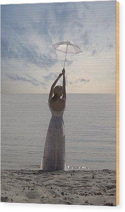 Woman At The Beach Wood Print by Joana Kruse
