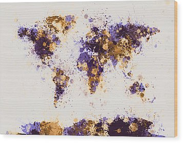 World Map Paint Splashes Wood Print by Michael Tompsett