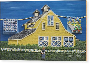 Wood Print featuring the sculpture Yellow Barn by Anne Klar