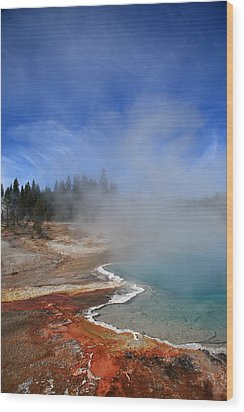 Yellowstone Park Geyser Wood Print by Frank Romeo