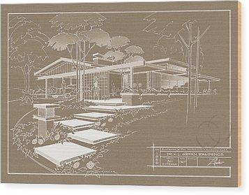 301 Cypress Drive - Sepia Wood Print