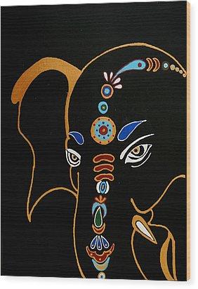 32 Gajakarna Ganesh Wood Print