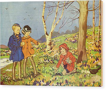 Infant School Illustrations 1950s Uk Wood Print by The Advertising Archives