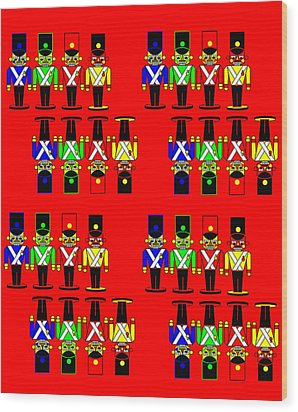 32 Nutcracker Soldiers On Red Wood Print by Asbjorn Lonvig