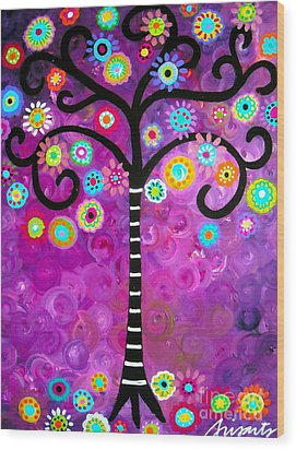 Wood Print featuring the painting Tree Of Life by Pristine Cartera Turkus