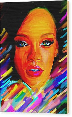 Rihanna Wood Print by Bogdan Floridana Oana