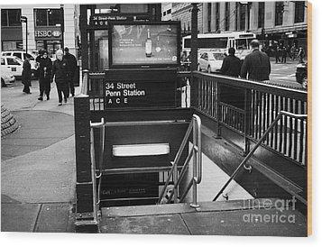 34th Street Entrance To Penn Station Subway New York City Wood Print by Joe Fox