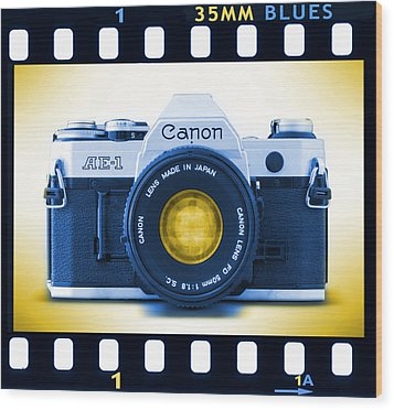 35mm Blues Canon Ae-1 Wood Print by Mike McGlothlen