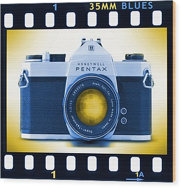 35mm Blues Pentax Spotmatic Wood Print by Mike McGlothlen