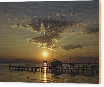 An Outer Banks Of North Carolina Sunset Wood Print by Richard Rosenshein