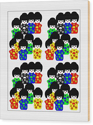 36 Japanese Dolls On White Wood Print by Asbjorn Lonvig