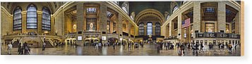 360 Panorama Of Grand Central Terminal Wood Print by David Smith