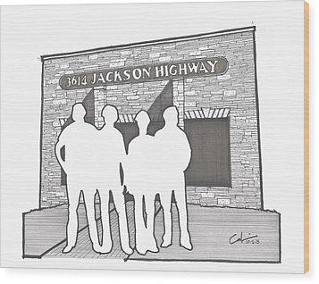 Wood Print featuring the drawing 3614 Jackson Highway by Calvin Durham