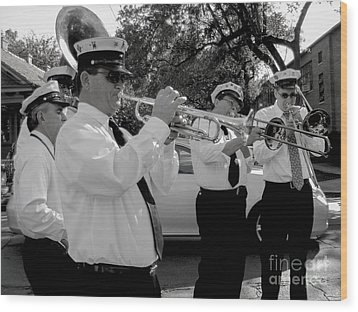 3rd Line Brass Band Second Line Wood Print by Renee Barnes