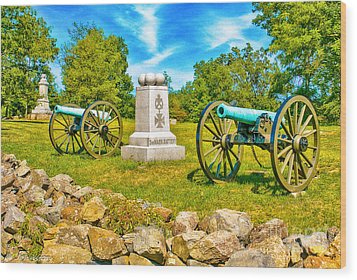 3rd Massachusetts Battery Gettysburg National Military Park Wood Print by Bob and Nadine Johnston