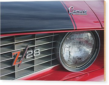 1969 Chevrolet Camaro Z-28 Grille Emblem Wood Print by Jill Reger