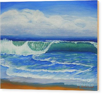 Wood Print featuring the painting A Wave To Catch by Shelia Kempf