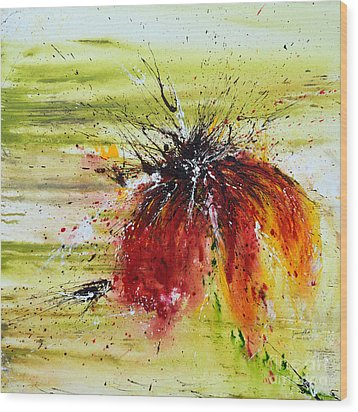 Abstract Flower Wood Print by Ismeta Gruenwald