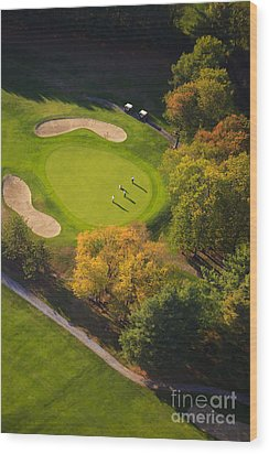 Aerial Image Of A Golf Course. Wood Print