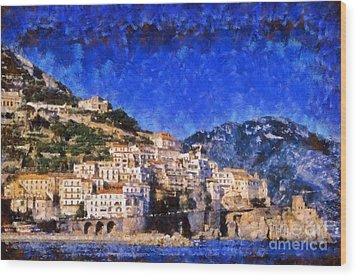Amalfi Town In Italy Wood Print by George Atsametakis