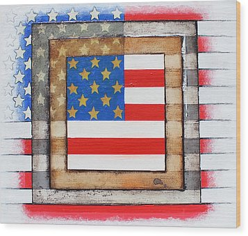 American Flag Wood Print by Steve  Hester