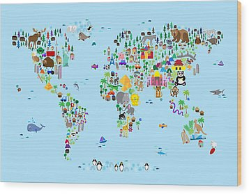 Animal Map Of The World For Children And Kids Wood Print by Michael Tompsett